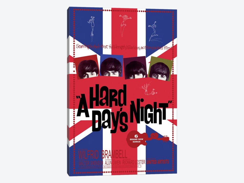 A Hard Day's Night Film Poster (Union Jack Background) by Radio Days 1-piece Canvas Art Print