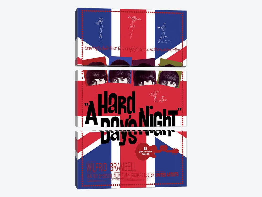 A Hard Day's Night Film Poster (Union Jack Background) by Radio Days 3-piece Canvas Art Print