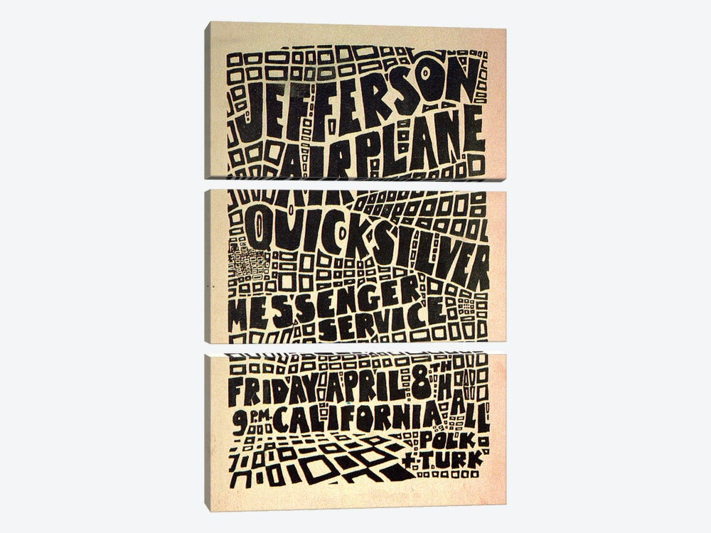 California Hall Concert Poster (Jefferson Airplane & Quicksilver Messenger Service) by Radio Days 3-piece Canvas Wall Art