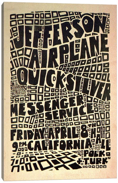 California Hall Concert Poster (Jefferson Airplane & Quicksilver Messenger Service) Canvas Art Print