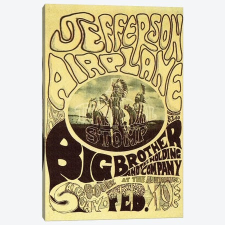 Fillmore Auditorium Concert Poster (Tribal Stomp - Jefferson Airplane & Big Brother And The Holding Company) Canvas Print #RAD40} by Radio Days Canvas Artwork