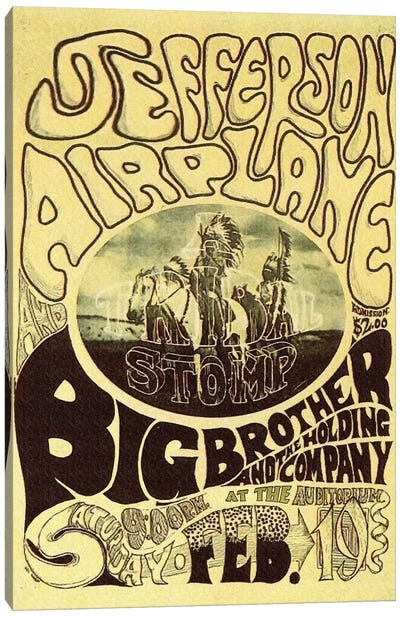 Fillmore Auditorium Concert Poster (Tribal Stomp - Jefferson Airplane & Big Brother And The Holding Company) Canvas Art Print