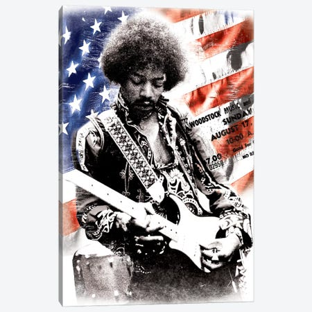 Jimi Hendrix (American Flag Background) Canvas Print #RAD41} by Radio Days Canvas Artwork