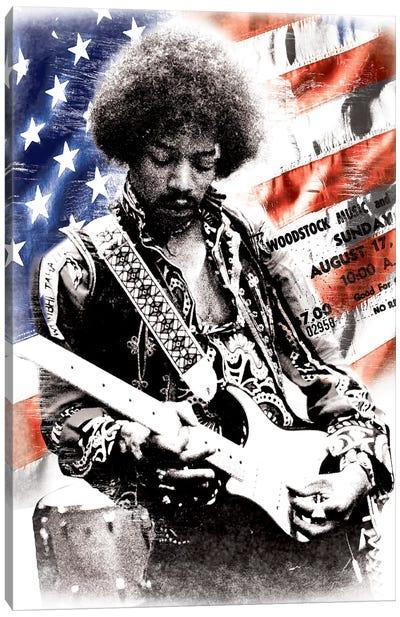 Jimi Hendrix (American Flag Background) Canvas Print #RAD41