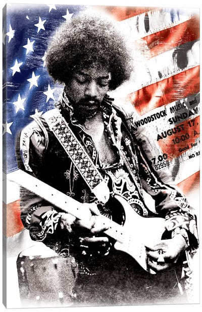 Jimi Hendrix (American Flag Background) by Radio Days Canvas Art Print
