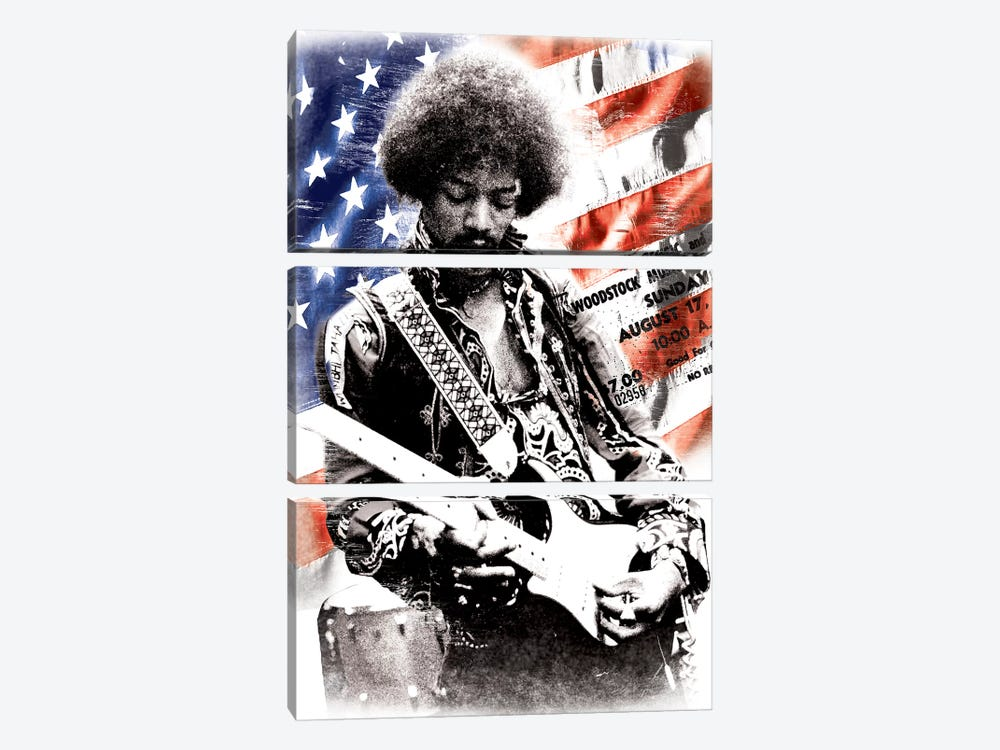Jimi Hendrix (American Flag Background) 3-piece Canvas Art Print