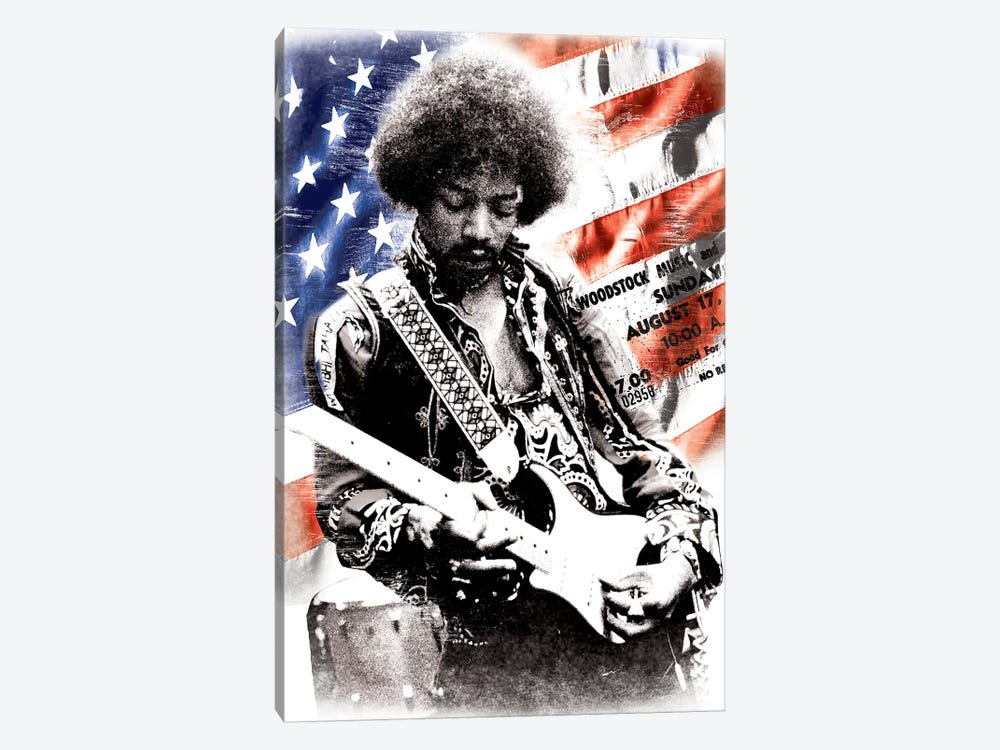 Jimi Hendrix (American Flag Background) by Radio Days 1-piece Canvas Print