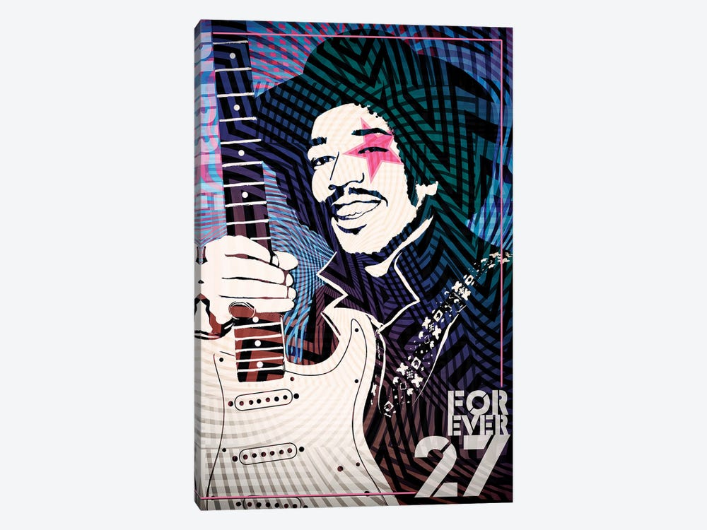 Jimi Hendrix Forever 27 Psychedelic Poster by Radio Days 1-piece Canvas Art