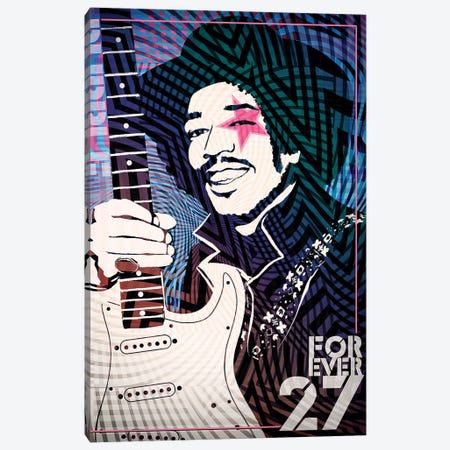 Jimi Hendrix Forever 27 Psychedelic Poster Canvas Print #RAD42} by Radio Days Canvas Artwork