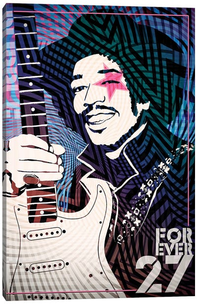 Jimi Hendrix Forever 27 Psychedelic Poster Canvas Print #RAD42