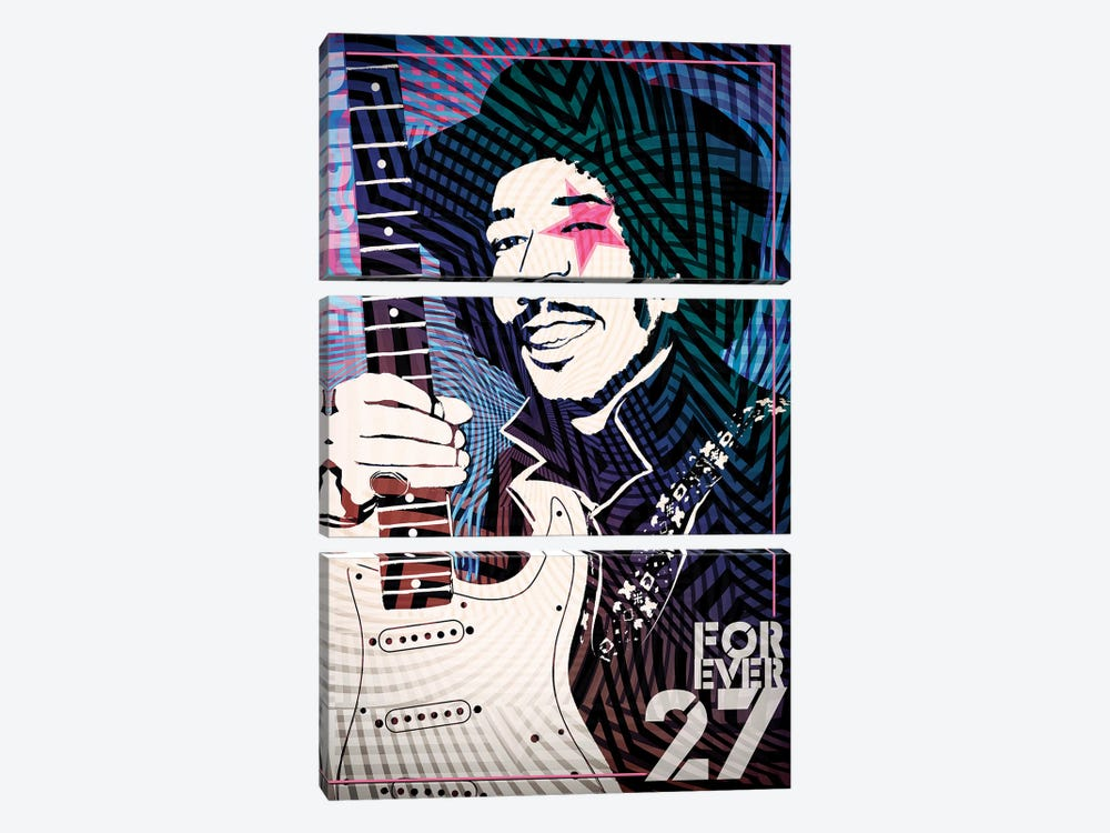 Jimi Hendrix Forever 27 Psychedelic Poster by Radio Days 3-piece Canvas Wall Art