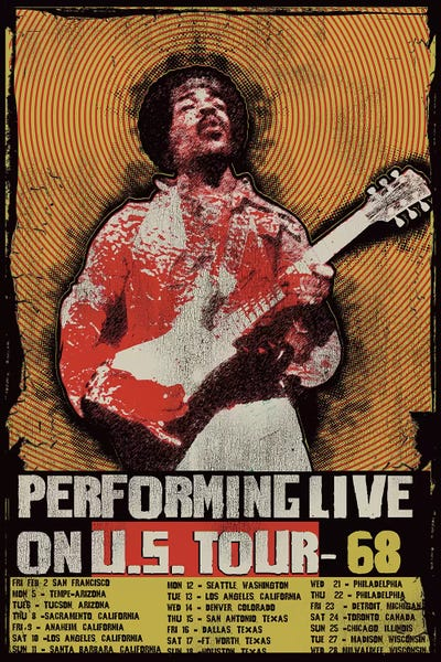 Jimi Hendrix 1968 U S Tour Poster Canvas Print By Radio