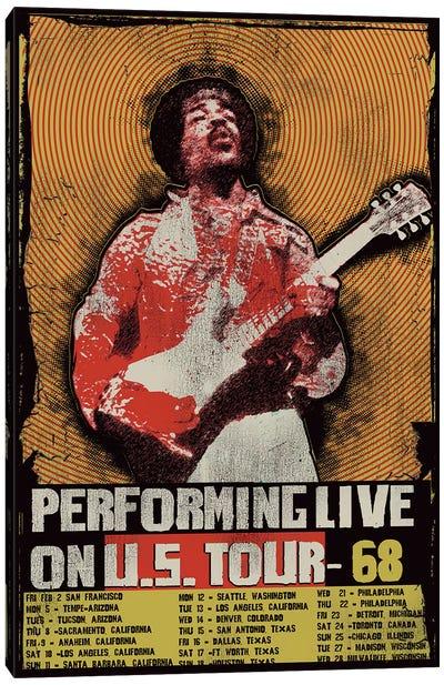 Jimi Hendrix 1968 U.S. Tour Poster Canvas Print #RAD45