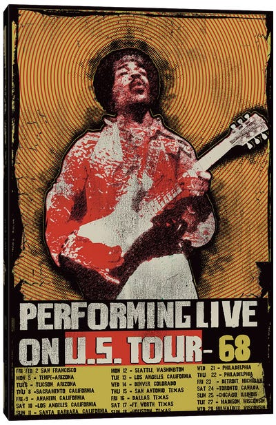 Jimi Hendrix 1968 U.S. Tour Poster Canvas Art Print