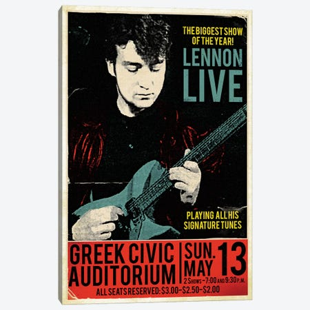 John Lennon At The Greek Civic Auditorium Canvas Print #RAD46} by Radio Days Art Print