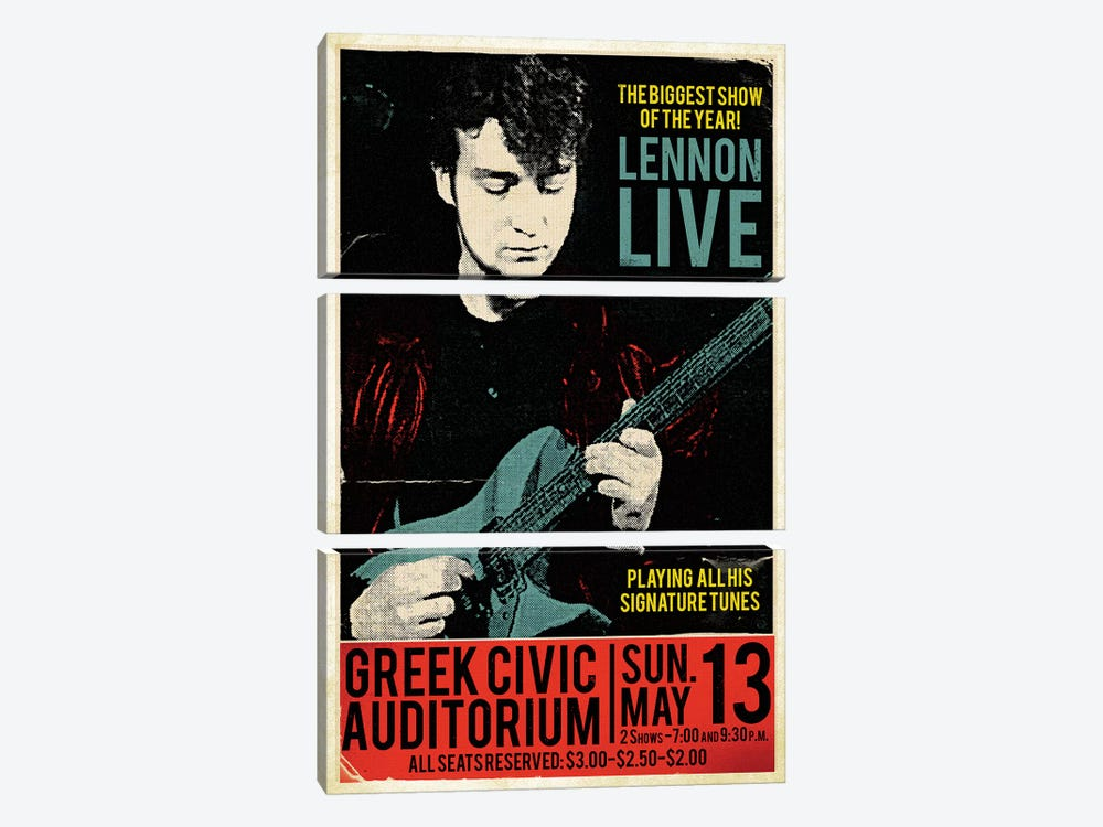 John Lennon At The Greek Civic Auditorium by Radio Days 3-piece Canvas Art