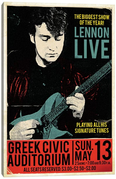 John Lennon At The Greek Civic Auditorium Canvas Art Print