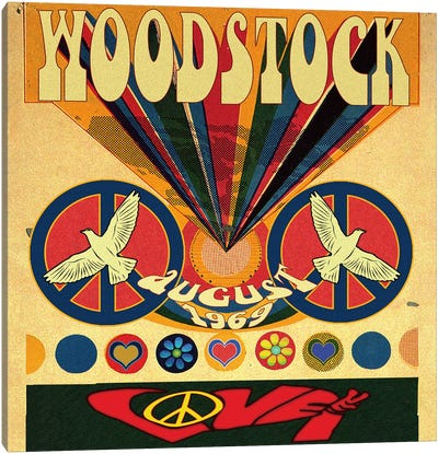 Woodstock Love Invite Poster by Radio Days Canvas Art Print
