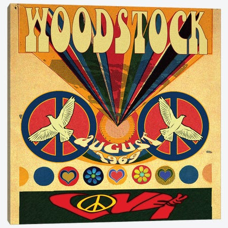 Woodstock Love Invite Poster Canvas Print #RAD50} by Radio Days Art Print