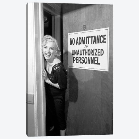 A Giggling Marilyn Monroe Peeking Out Of A Restricted Access Room Canvas Print #RAD52} by Radio Days Art Print
