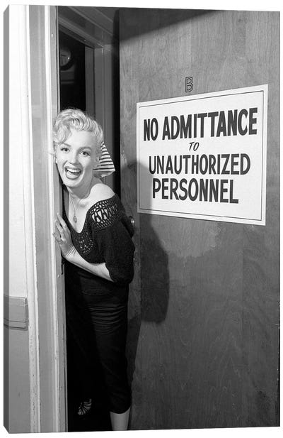 A Giggling Marilyn Monroe Peeking Out Of A Restricted Access Room Canvas Art Print