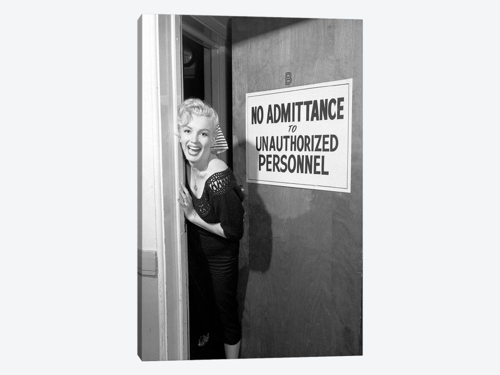 A Giggling Marilyn Monroe Peeking Out Of A Restricted Access Room by Radio Days 1-piece Canvas Print