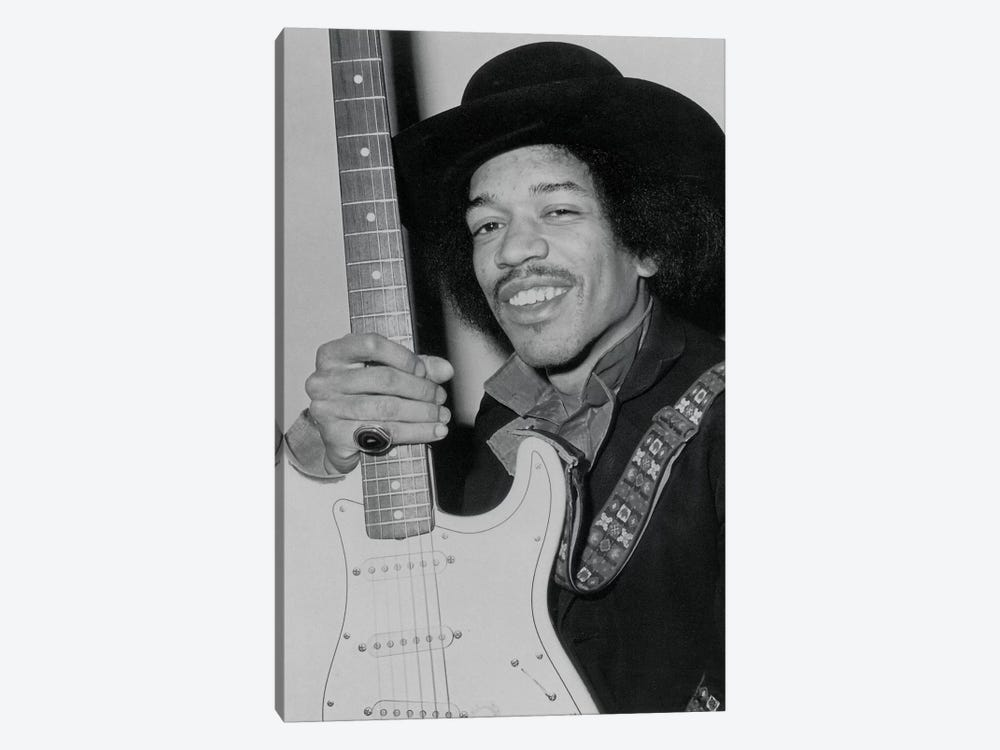 A Smiling Jimi Hendrix Holding His Guitar by Radio Days 1-piece Canvas Wall Art