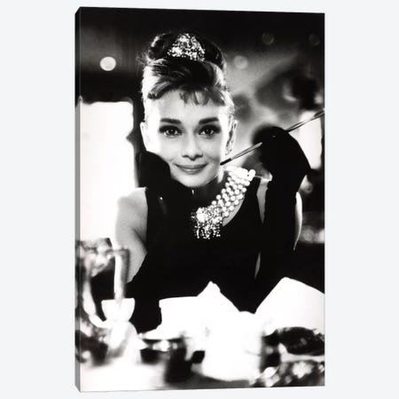 A Smiling Audrey Hepburn Canvas Print #RAD57} by Radio Days Canvas Wall Art