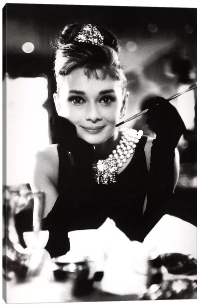 A Smiling Audrey Hepburn Canvas Art Print
