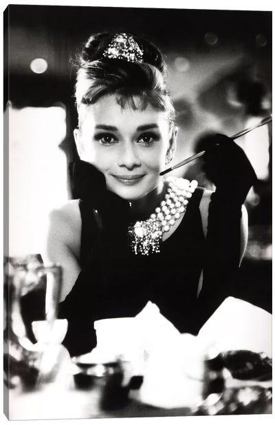A Smiling Audrey Hepburn Canvas Art Print