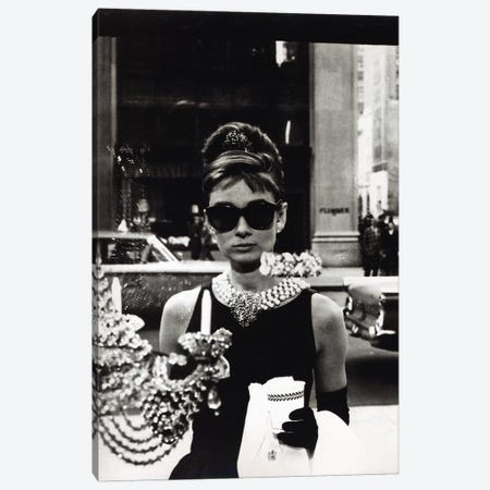 Audrey Hepburn As Seen Through Tiffany's Storefront Window Canvas Print #RAD58} by Radio Days Art Print