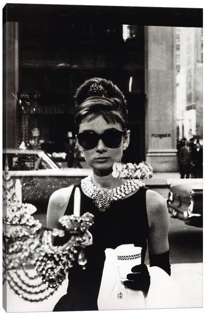 Breakfast At Tiffany's Series: Audrey Hepburn As Seen Through Tiffany's Storefront Window Canvas Print #RAD58