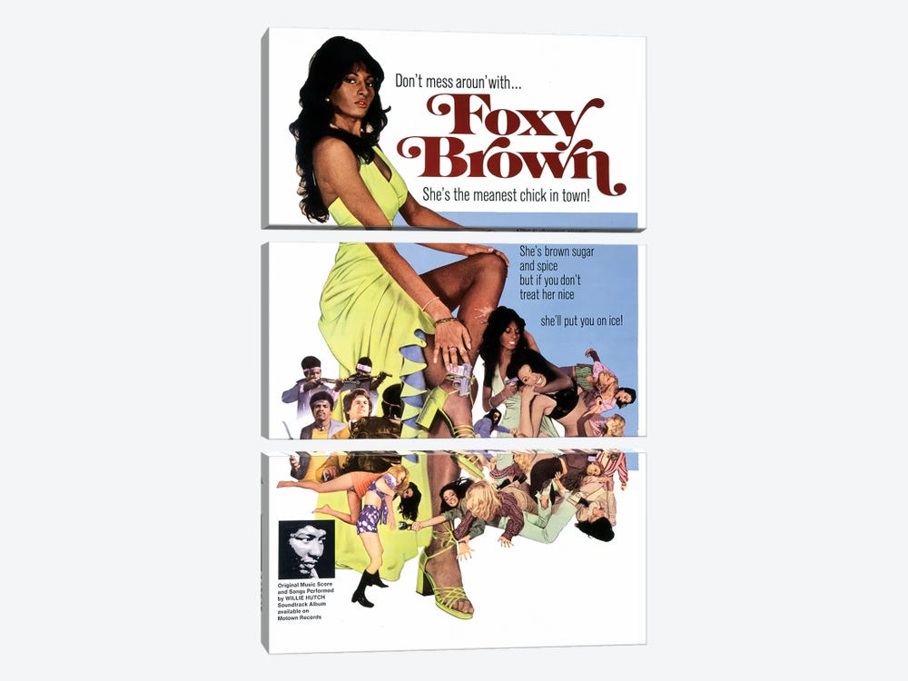 Foxy Brown Film Poster by Radio Days 3-piece Canvas Print