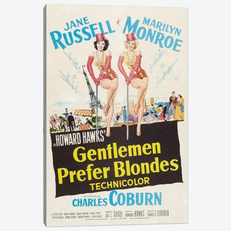 Gentlemen Prefer Blondes Film Poster Canvas Print #RAD66} by Radio Days Canvas Print