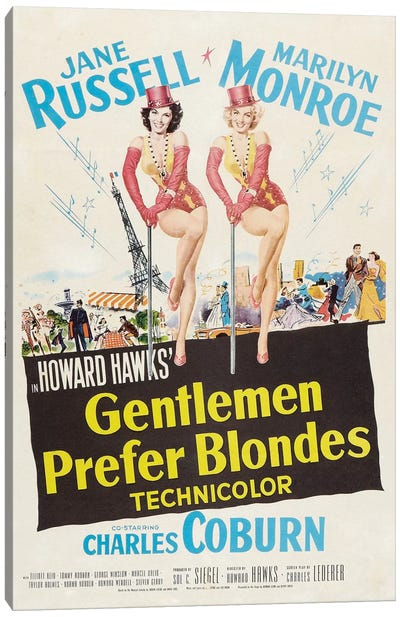 Gentlemen Prefer Blondes Film Poster Canvas Art Print