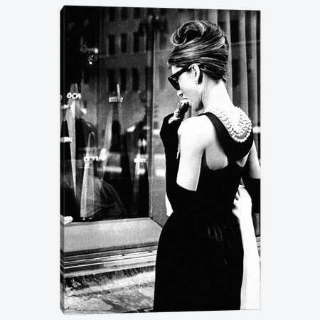 Audrey Hepburn Window Shopping I Canvas Print #RAD6} by Radio Days Canvas Print