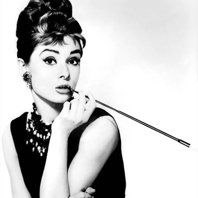 Audrey Hepburn Smoking Canvas Wall Art by Radio Days | iCanvas