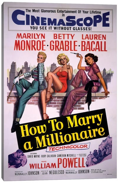 How To Marry A Millionaire Film Poster Canvas Art Print