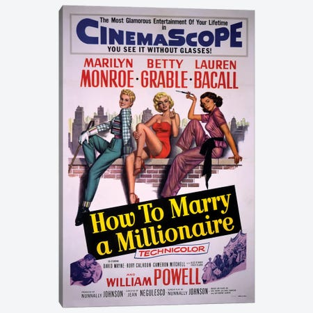 How To Marry A Millionaire Film Poster Canvas Print #RAD70} by Radio Days Canvas Print
