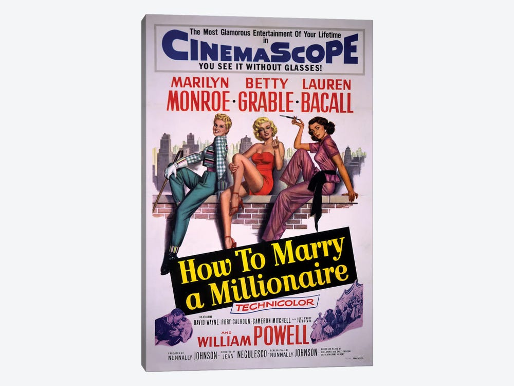 How To Marry A Millionaire Film Poster by Radio Days 1-piece Canvas Art Print