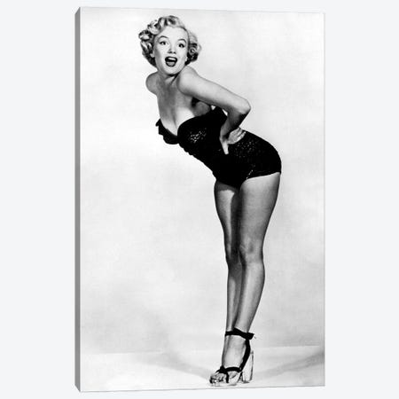 Marilyn Monroe Posing In A Black Swimsuit Canvas Print #RAD73} by Radio Days Canvas Art Print