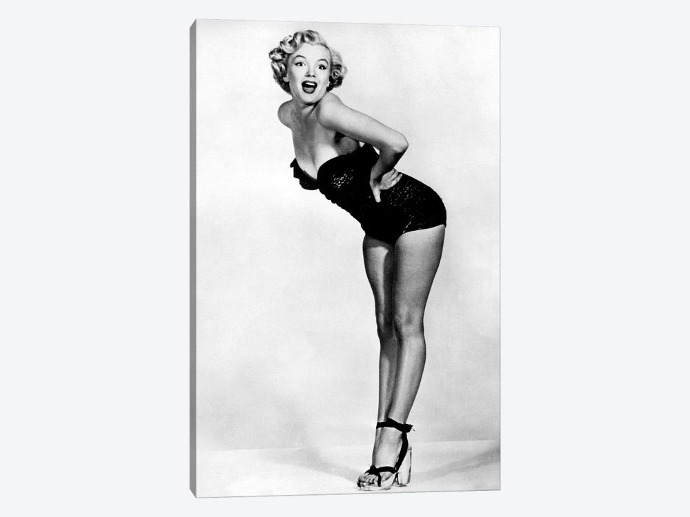 Marilyn Monroe Posing In A Black Swimsuit by Radio Days 1-piece Canvas Art