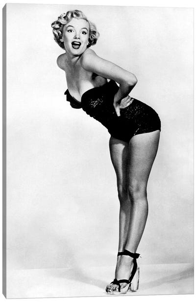 Marilyn Monroe Posing In A Black Swimsuit Canvas Art Print