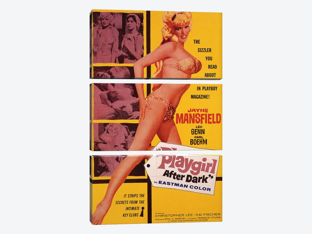 Playgirl After Dark (Too Hot To Handle) Film Poster by Radio Days 3-piece Canvas Print
