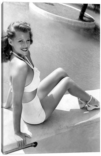 Rita Hayworth Sitting Next To A Pool Canvas Art Print