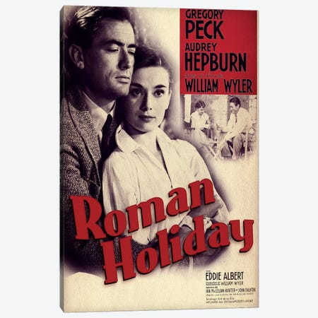 Roman Holiday Film Poster (French Market) Canvas Print #RAD78} by Radio Days Canvas Print