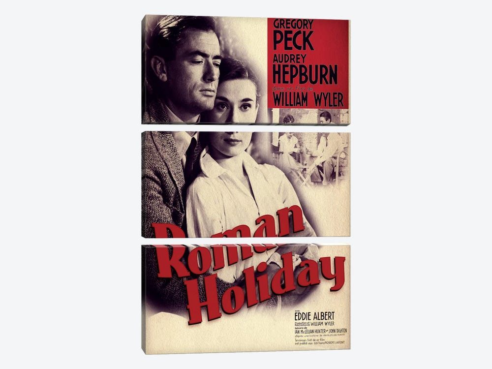 Roman Holiday Film Poster (French Market) by Radio Days 3-piece Canvas Print