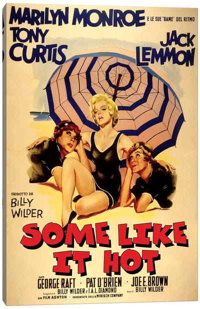 Some Like It Hot Film Poster (Italian Market) Canvas Art Print