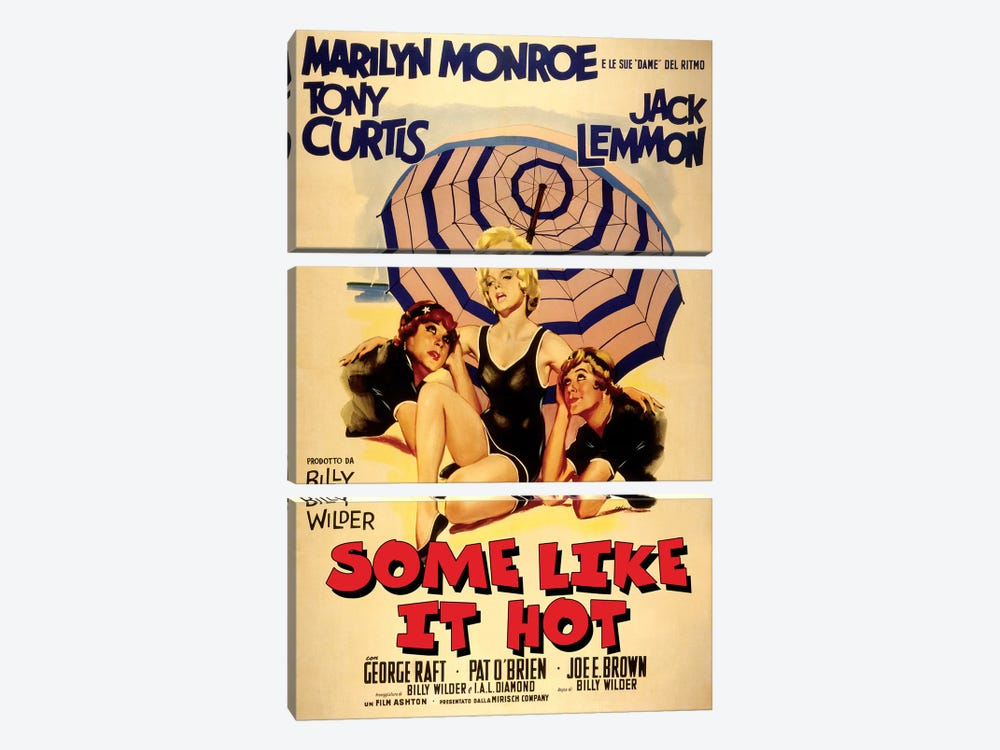 Some Like It Hot Film Poster (Italian Market) by Radio Days 3-piece Canvas Art