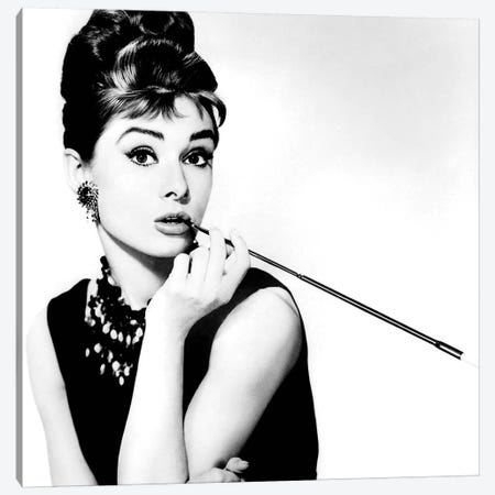 Audrey Hepburn Smoking Canvas Print #RAD7} by Radio Days Canvas Art Print